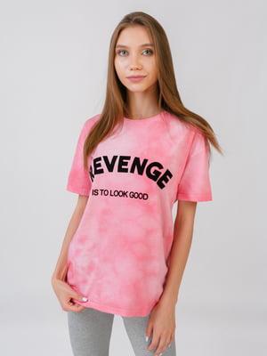 Блуза рожева з принтом | 5510876