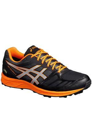 Кроссовки черно-оранжевые с логотипом | 5259666
