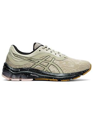Кросівки для бігу бежеві з логотипом | 5512217