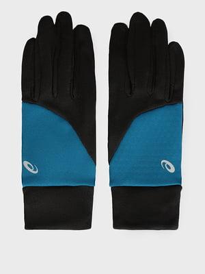Перчатки спортивные черные с логотипом | 5512849