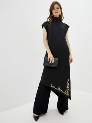 Блуза-кардиган чорно-золотистого кольору з декором | 5514346