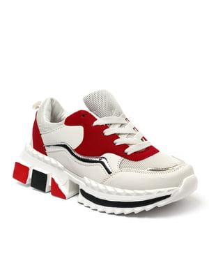 Кросівки біло-червоного кольору | 5511796