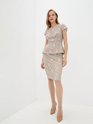 Блуза сіро-бежевого кольору з мереживом | 5514353