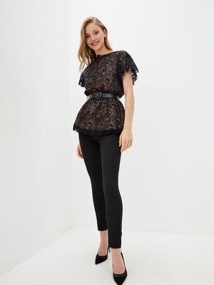 Блуза чорно-бежевого кольору з мереживом | 5514355
