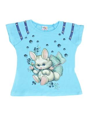 Блуза блакитна з принтом | 5504708