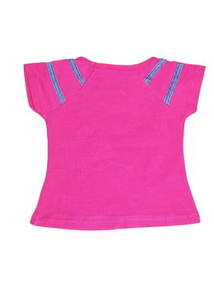 Блуза малинового кольору з принтом | 5504715