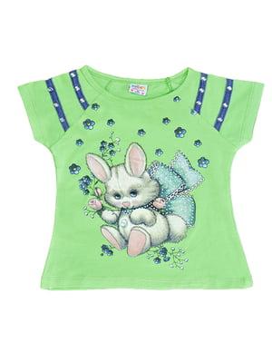 Блуза салатового кольору з принтом | 5504716