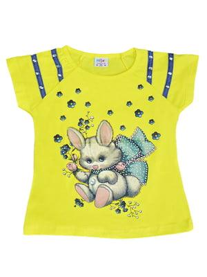 Блуза жовта з принтом | 5504725