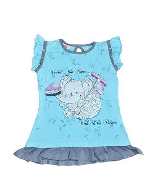 Сукня блакитна з принтом | 5504750