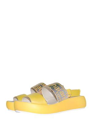 Босоніжки жовті з принтом | 5514859