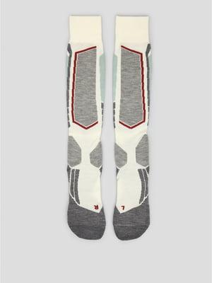 Шкарпетки лижні сіро-молочного кольору з логотипом   5512640