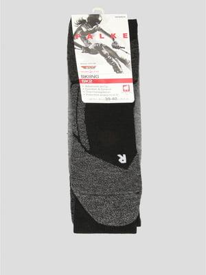 Шкарпетки лижні сіро-чорного кольору з логотипом   5512641