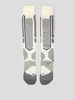 Носки лыжные серо-молочного цвета с логотипом | 5512648
