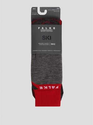 Носки лыжные серо-красного цвета с логотипом | 5512790