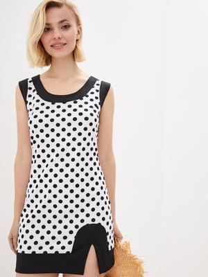 Сукня біла в чорний горошок | 1770133