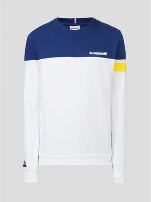 Джемпер бело-синий с логотипом | 5512856