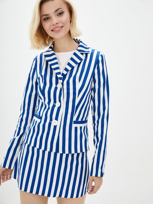 Жакет біло-синій у смужку | 3165708