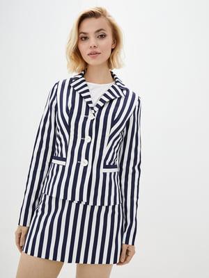 Жакет біло-синій у смужку | 3165714