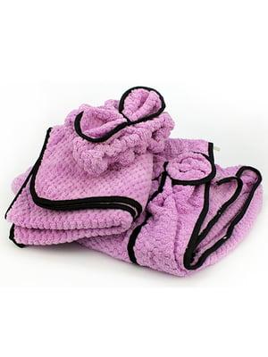 Комплект банный: полотенце-халат, полотенце и повязка на голову | 5514966