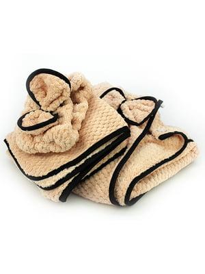 Комплект банный: полотенце-халат, полотенце и повязка на голову | 5514968