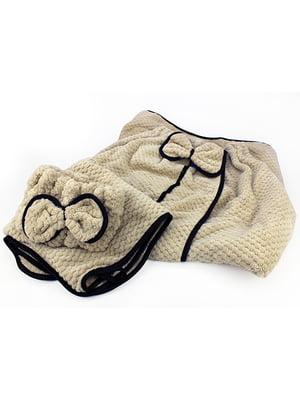 Комплект банний: рушник-халат, рушник і пов'язка на голову | 5514969