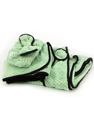 Комплект банный: полотенце-халат, полотенце и повязка на голову | 5514970