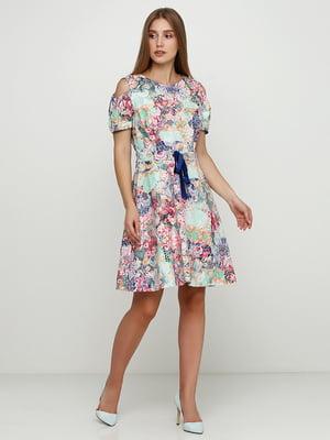 Сукня м'ятного кольору в принт | 5503320