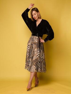 Сукня коричнева з анімалістичним принтом | 5516143