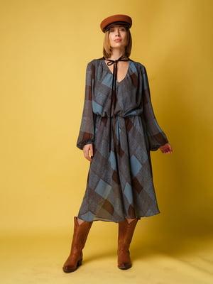 Сукня коричнево-блакитного кольору в ромб | 5516144
