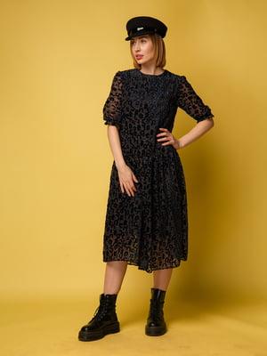 Сукня чорно-синя з анімалістичним візерунком | 5516146
