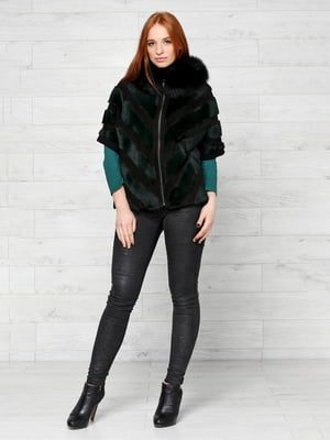 Шуба черно-зеленого цвета | 5516157