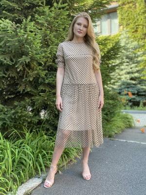 Сукня чорно-бежева в горох | 5516140