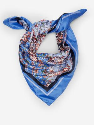 Хустка синя в квітковий принт | 5515604