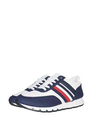 Кросівки біло-сині зі смужкою | 5514646