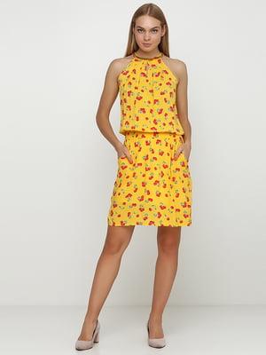 Сукня жовтна у принт | 4413116
