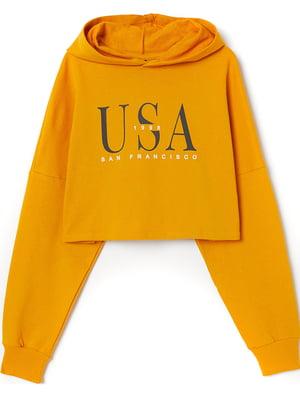 Свитшот желтый с принтом | 5507413