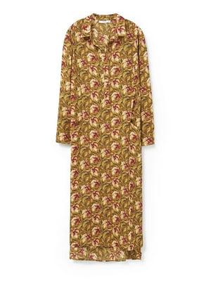 Платье коричневое в цветочный орнамент | 5516775