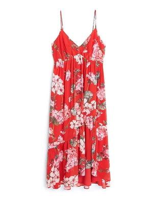 Сарафан красный в цветочный принт | 5516790
