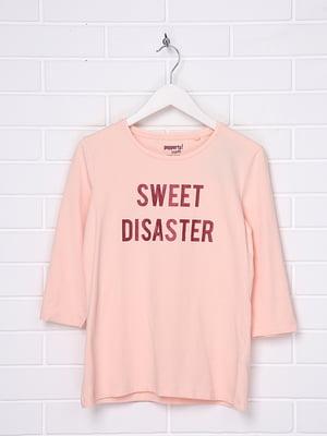 Лонгслив персикового цвета в принт | 5516911