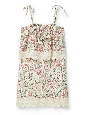 Платье бежевое в цветочный принт | 5517544