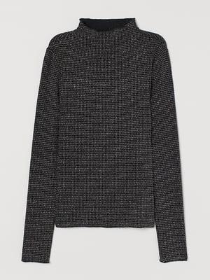 Блуза черно-серебристого цвета с декором   5517628