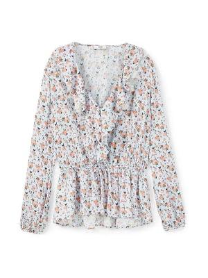 Блуза бузкова в квітковий принт | 5517644