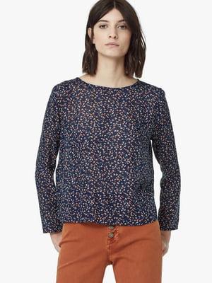 Блуза синяя в цветочный принт | 5517654