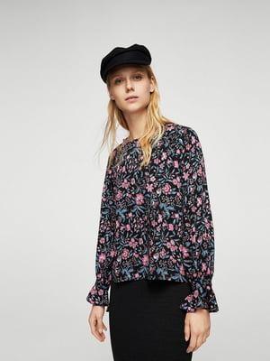 Блуза черная в цветочный принт | 5517660
