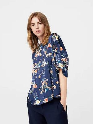 Блуза синя з квітковим принтом | 5517742