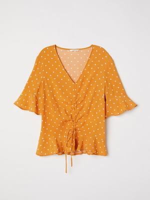 Блуза горчичного цвета в горох | 5517772