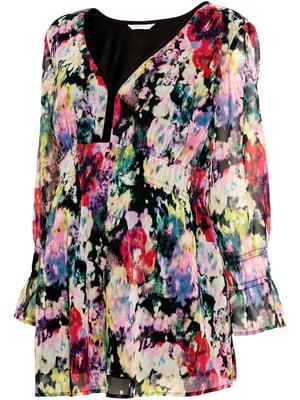 Блуза для беременных черная в цветочный принт | 5517833