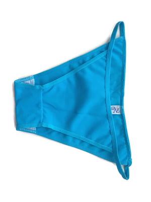 Трусы купальные голубого цвета в принт | 5517950