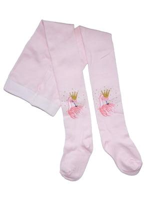 Колготки рожеві з принтом | 5519696