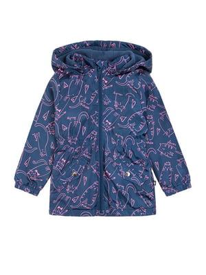 Куртка синяя в принт | 5519706